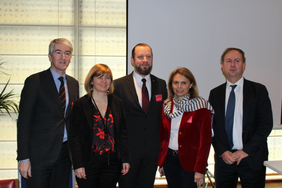 Balról jobbra: Christian de Barrin, CEO of HOTREC, Isabella de Monte, Member of the European Parliament, Janis Valodze, President of Hotelstars Union, Susanne Kraus-Winkler, HOTREC President, Carlo Corazza, Head of Unit, DG Grow, European Commission